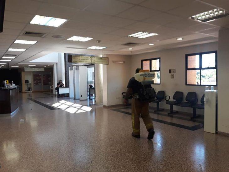 Desinfección del Palacio de Justicia de Pedro Juan Caballero.